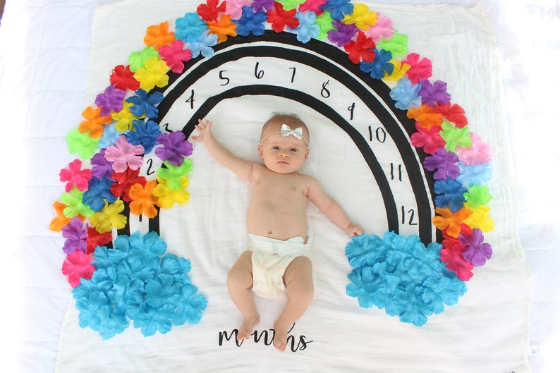 Rainbow Milestone Blanket\u2122 Boy Girl  Monthly Growth  swaddle blanket  anniversary blanket age blanket growth blanket rainbow blanket boho