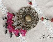 Vintage Style Lucite Necklace, Fuchia, Lucite Necklace