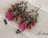 Vintage Style Chandellier Earrings, Fuchia, Lucite Earrings
