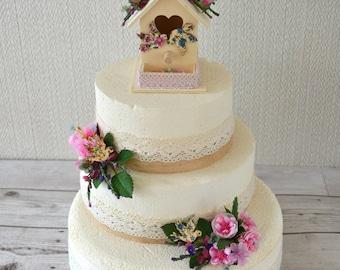 Wedding. Birthday,Bird House Cake Toppers.Three Tiers. Pink.Ivory.Blue, blue wooden birds,cream bird house.