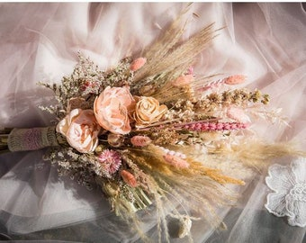 Dried flower wedding bouquet. Boho styled  buttonhole . pink Natural and ivory colours. Pampas grass Sola wood Pink peonies.Ruscus, Grasses