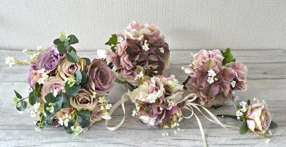 BLUSH VINTAGE PINK ROSES BALL POSY BOUQUET BURLAP WEDDING FLOWERS BRIDE MAIDS