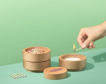 Wooden candle holders. Rings.