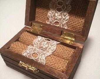 Ring Box, Wedding Ring Box, Ring Bearer Box, Wood Ring Box, Rustic Ring Box, Antique Ring Box, Engagement Ring Box, Ring Holder,Ring Pillow