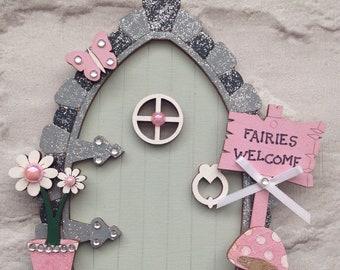 Fairy Door in Sage and Pink, Wooden Fairy Door, Magical Door, Fairy Door, Tooth Fairy, Hobbit House