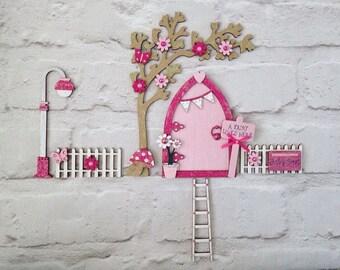 Magical Pink Blossom Fairy Door Set with Fencing and acessories, Fairy Door, Magical Door