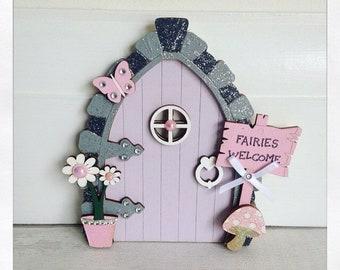 Fairy Door in Lilac & Pink, Wooden Fairy Door, Magic Door, Minature Door, Magical, Fairies, Fairy Door