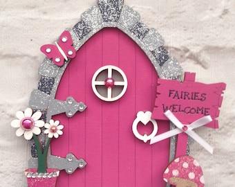 Fairy Door in Fushia Pink, Wooden Fairy Door, Magical, Magic Door, pink, Mystical, Fairy House