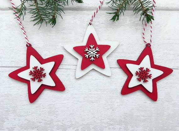 the best attitude 836c8 acd1c Nordic Christmas Tree Decorations, Scandi, Traditional Wooden Christmas  Tree Decorations, Baubles, Stars, Red and White Christmas Decoration