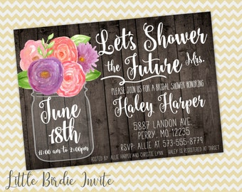 Rustic Bridal Shower Invitation, Watercolor Bridal Shower Invitation, Mason Jar Bridal Shower Invitation, Printable Bridal Shower Invitation