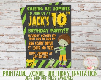 Zombie invite etsy zombie birthday invitation halloween birthday invitation halloween party invitation zombie party invitation zombie birthday invite stopboris Gallery