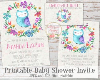 Owl baby shower invitation etsy owl baby shower invitation wildflower baby shower invitation watercolor owl invitation woodland baby shower invitation owl invite filmwisefo