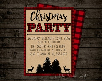 Plaid Christmas Party Invitation | Rustic Christmas Party Invitation | Holiday Party Invitation | Christmas Party Invite | Deer Invitation