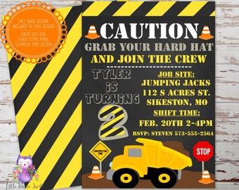 Construction Birthday Invitation, Dump Truck Birthday Invitation, Construction Party Invitation, Construction Invite, Dump Truck Invite, Boy