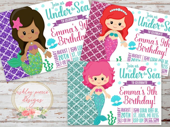 Mermaid birthday invitation under the sea birthday etsy image 0 stopboris Images