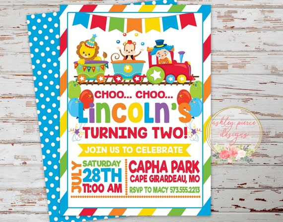 Circus Train Birthday Invitation
