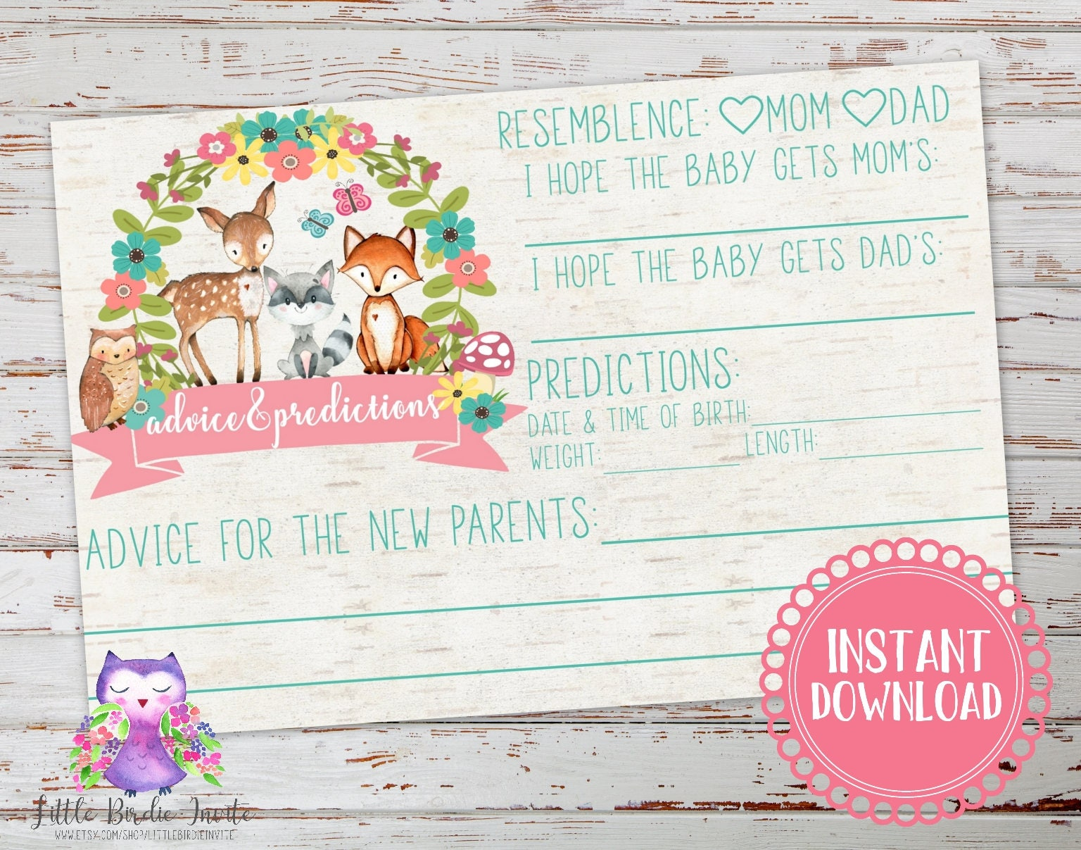 Woodland Baby Shower Advice And Predictions Card Woodland Etsy