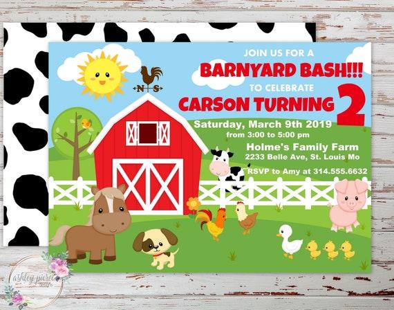 printable farm animal birthday invitation for boy or girl etsy