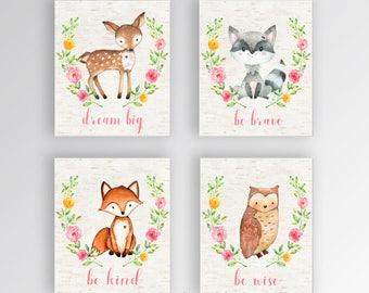 Woodland Animal Nursery Wall Prints | Woodland Creature Wall Print | Woodland Animal Nursery Decor | Baby Girl Nursery Prints