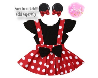 Minnie Mouse Dress for Girl Baby Birthday Party Match Headband Halloween Costume