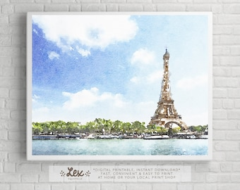 France, Paris, Eiffel Tower - Aquarelle Watercolor Painting Digital Wall Art Instant Download