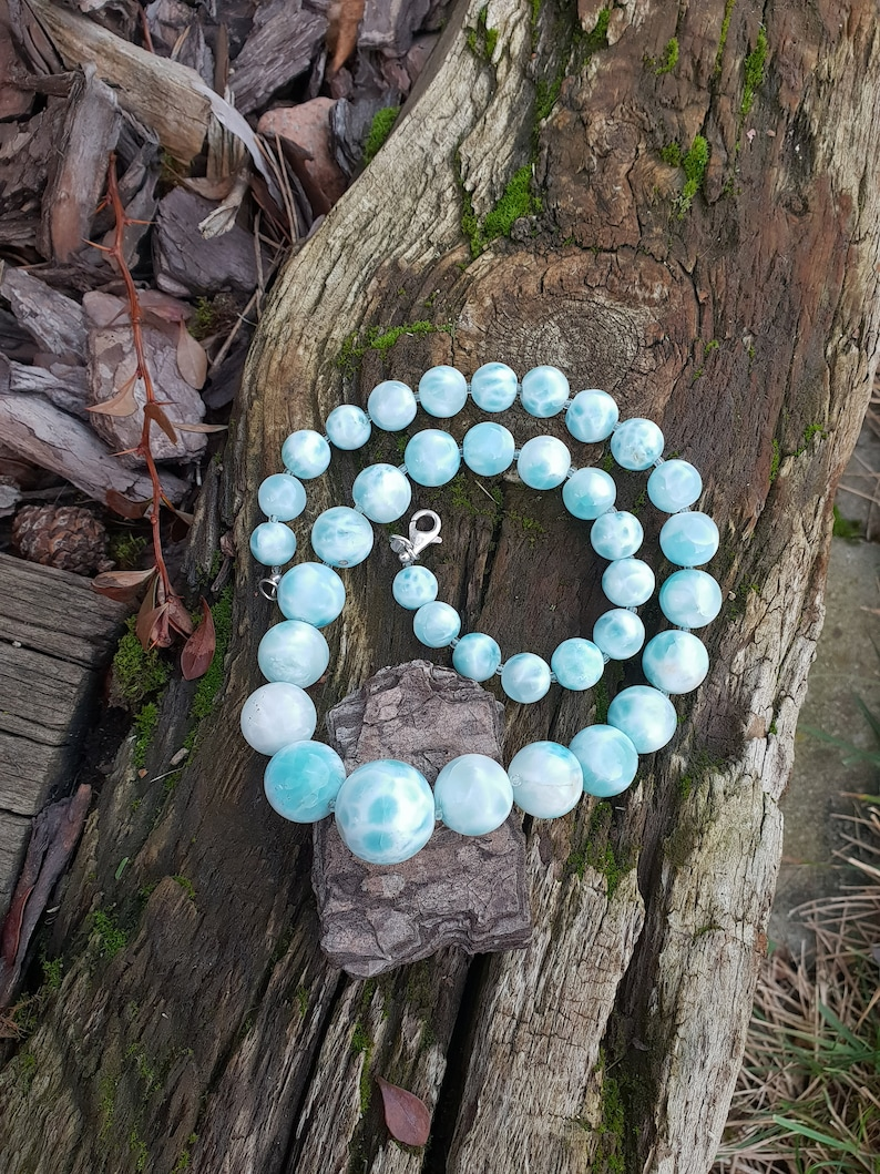Beautiful highest quality larimar necklace larimar beads image 0