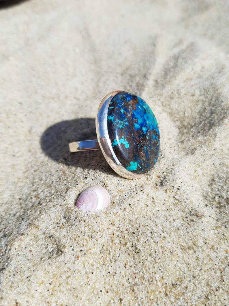 Amazing ring with azurite elegant and exclusive jewelry image 0