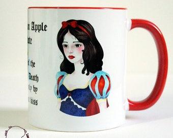 White and red for tea and coffee ceramic mug - snow white mug