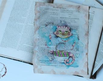 Art print on one page book old Cup of Cheshire - old book art print