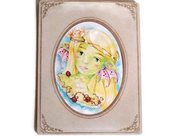 Art reproduction framed in a vintage princess fairy dragon art print sleeve