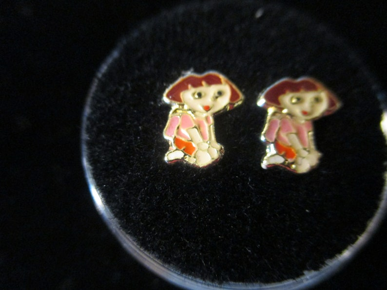 DORA THE EXPLORER Screw Back Child Character Silver Earring COVERED in Acrylic