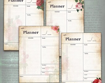 Printable Daily Planner - Vintage Flowers. Get organised! 7 pages - organize your week