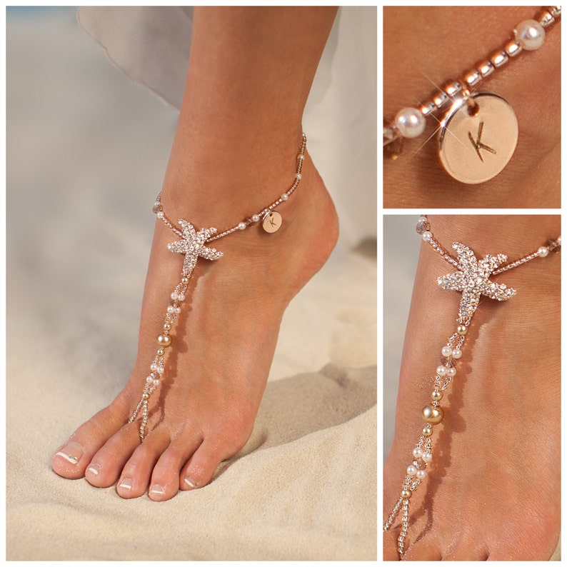Personalized rose gold jewelry Starfish Barefoot sandals image 0