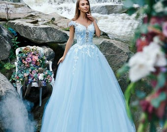 c5859ffc13beb Blue wedding dress with 3D lace corset and blue tulle skirt with flowers