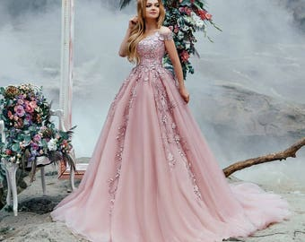 Pink wedding dress with 3D flowers lace corset 74c769731f3