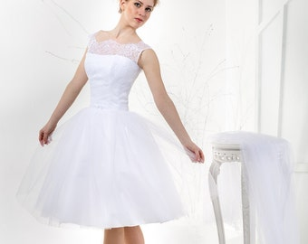 Vintage Inspired Tea Length Wedding Dress with Lace Corset, Illusion Neckline, Cap Sleeves, and Tulle Skirt
