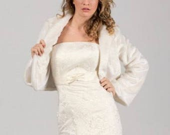Faux fur bridal bolero jacket ,Faux Fur Wedding Coat,Wedding Jacket, Bride's Gift, Wedding Coat