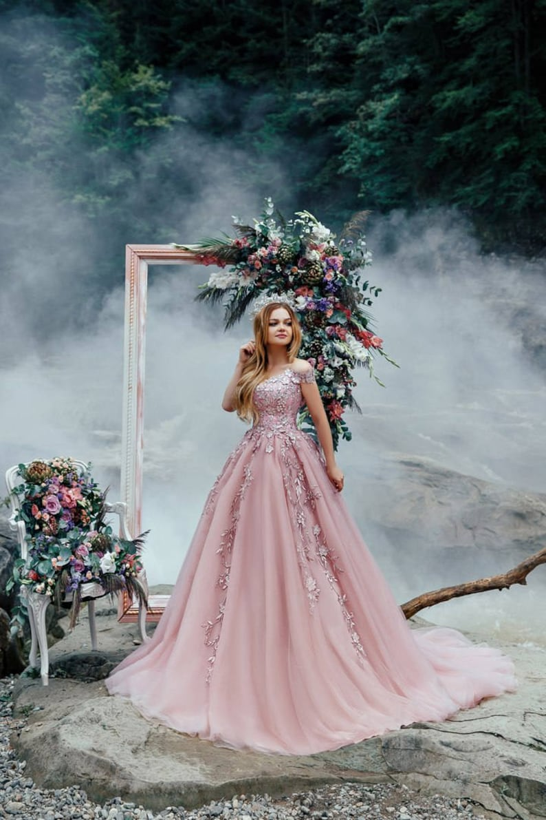 89048266746 Pink wedding dress with 3D flowers lace corset pink tulle