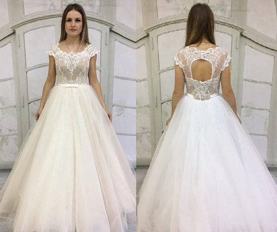 Vintage Inspired Wedding Dress With Chantelle Lace Corset Cutout Back Illusion Neckline Tulle Skirt