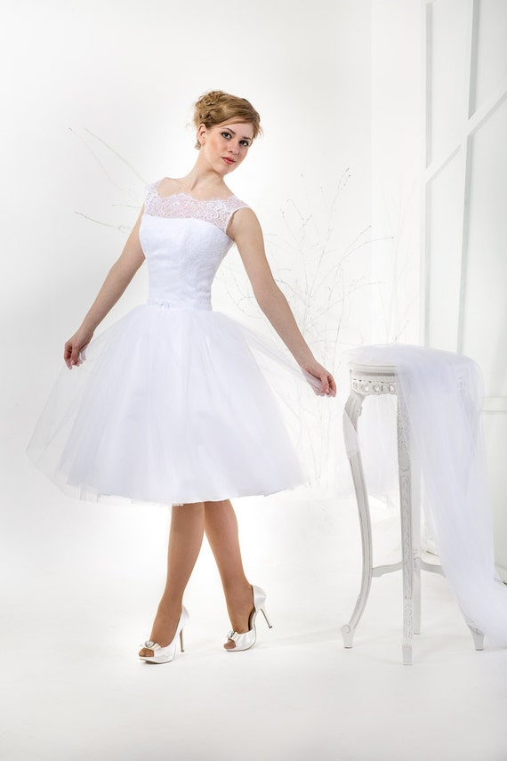 Cute Knee Length Wedding Dress With Lace Corset And A Tea Length Tulle Skirt Illusion Neckline Cap Sleeves Audrey Hepburn