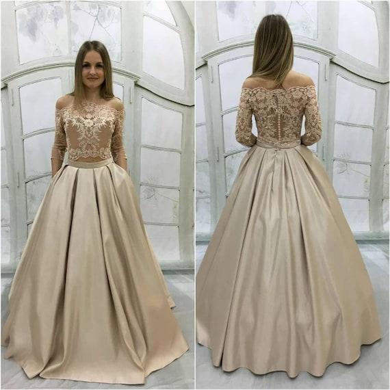 Beige wedding dressVintage Atlas Wedding Dress with Lace | Etsy