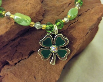 Four Leaf Clover Necklace/Irish Necklace/Green/Gold/Silver/Irish Pendant/St. Patrick's Day/Lucky Irish Four Leaf Clover Necklace for Women