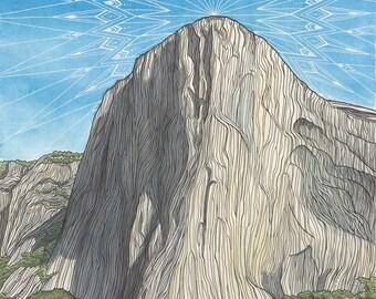 El Capitan 11x14 Archival Print - Rock Climbing Art Giclee - Yosemite Valley, California Landscape Painting