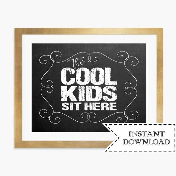 Kids Table Sign Chalkboard Table Signs Instant Download Kids | Etsy