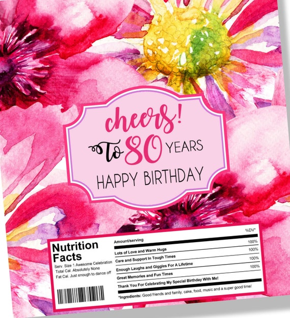 80th Birthday Candy Bar Wrapper Cheers To 40 Years Instant Etsy