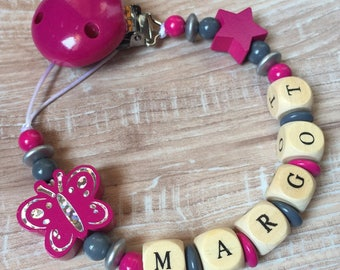 Pacifier clip personalized with name wooden beads: Margot