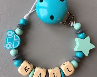 Pacifier clip - pacifier - clip with name personalized wooden beads: Mael