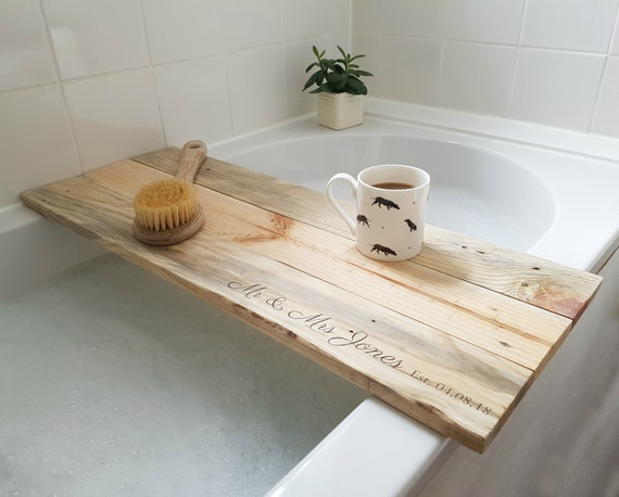 Personalised bath tray.reclaimed wood tray.bath caddy.over | Etsy