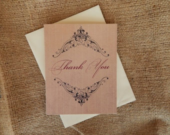 Vintage Thank You Card  |  Elegant Thank You Card  |  Customizable