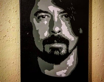 """Dave Grohl Black & White or Purple Paintings on 9"""" x 12"""" Canvas - Spray Paint Art Nirvana Foo Fighters Gray Grey"""